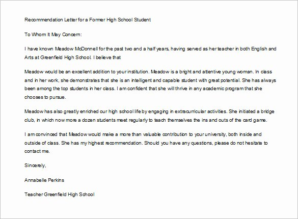 Student Teacher Recommendation Letter Fresh 10 Letter Of Re Mendation for Student Pdf Doc