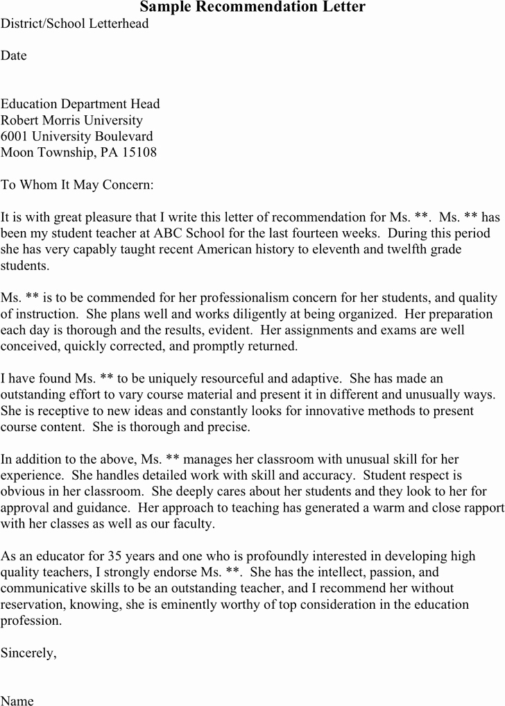 Student Teacher Recommendation Letter Fresh Sample Re Mendation Letter for Student