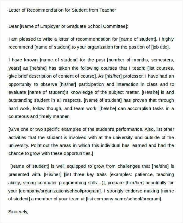 Student Teacher Recommendation Letter Luxury 45 Free Re Mendation Letter Templates