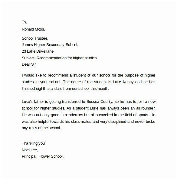 Study Abroad Recommendation Letter Awesome 15 Sample Re Mendation Letters