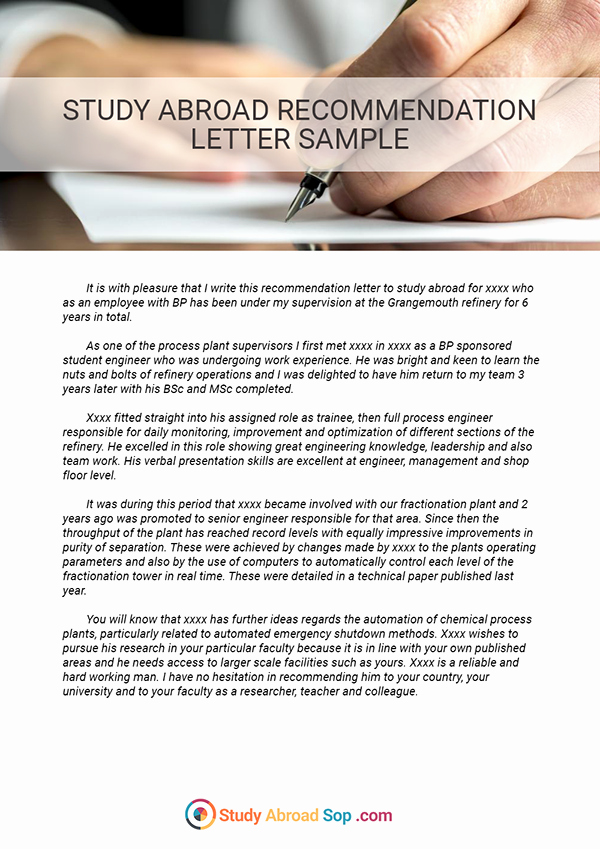 Study Abroad Re mendation Letter Sample