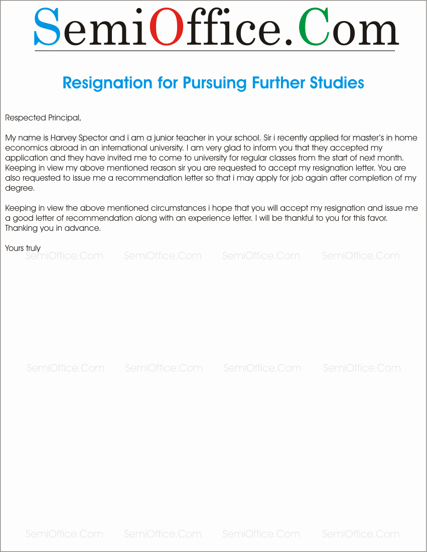 Study Abroad Recommendation Letter Unique Resignation Letter for Further Stu S
