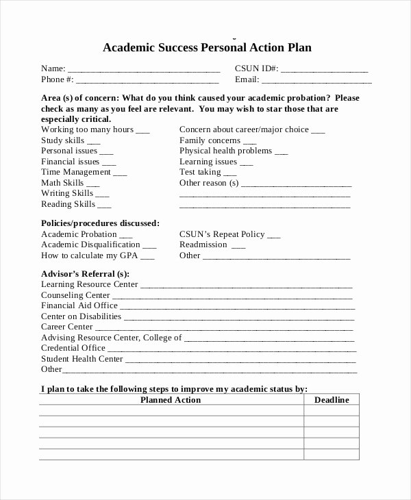 Study Plan Template for Students Beautiful Student Action Plan Template 8 Free Word Pdf format