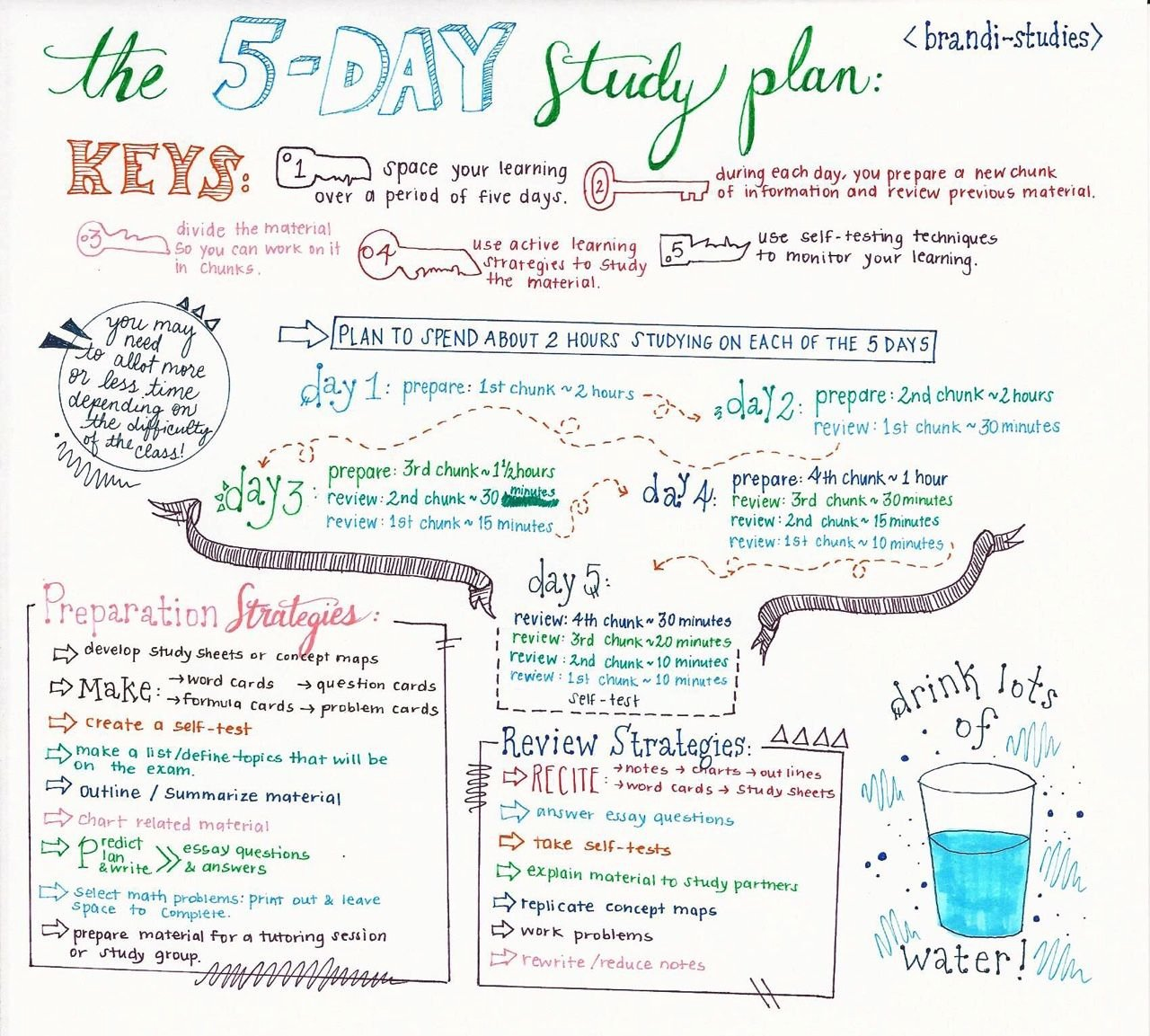 Study Plan Template for Students Lovely Brandi Stu S the Five Day Study Plan Exam Season is