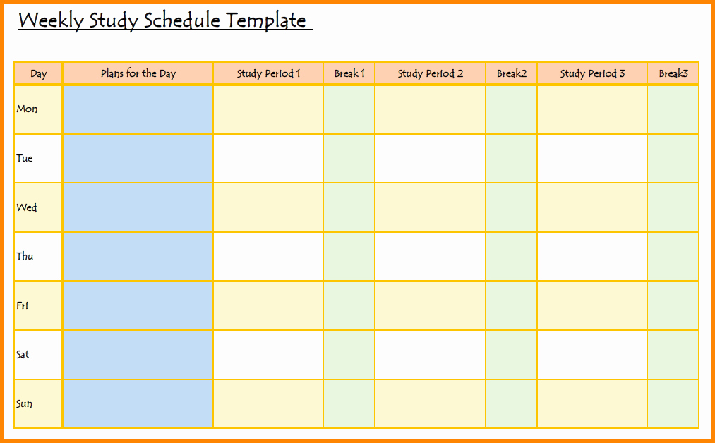 Study Plan Template for Students Lovely Study Schedule Template