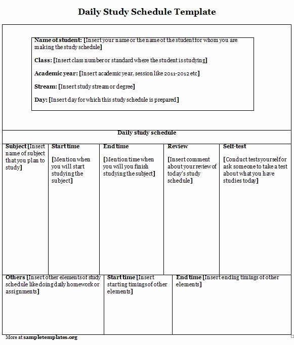 Study Plan Template for Students Luxury Schedule Template for Daily Study Sample Of Daily Study