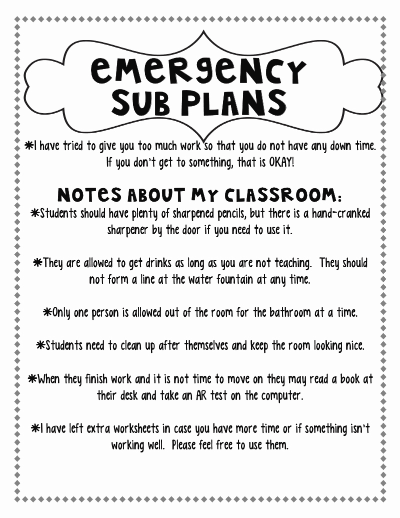 Sub Lesson Plan Template Awesome Step Into 2nd Grade with Mrs Lemons Planning for A Sub