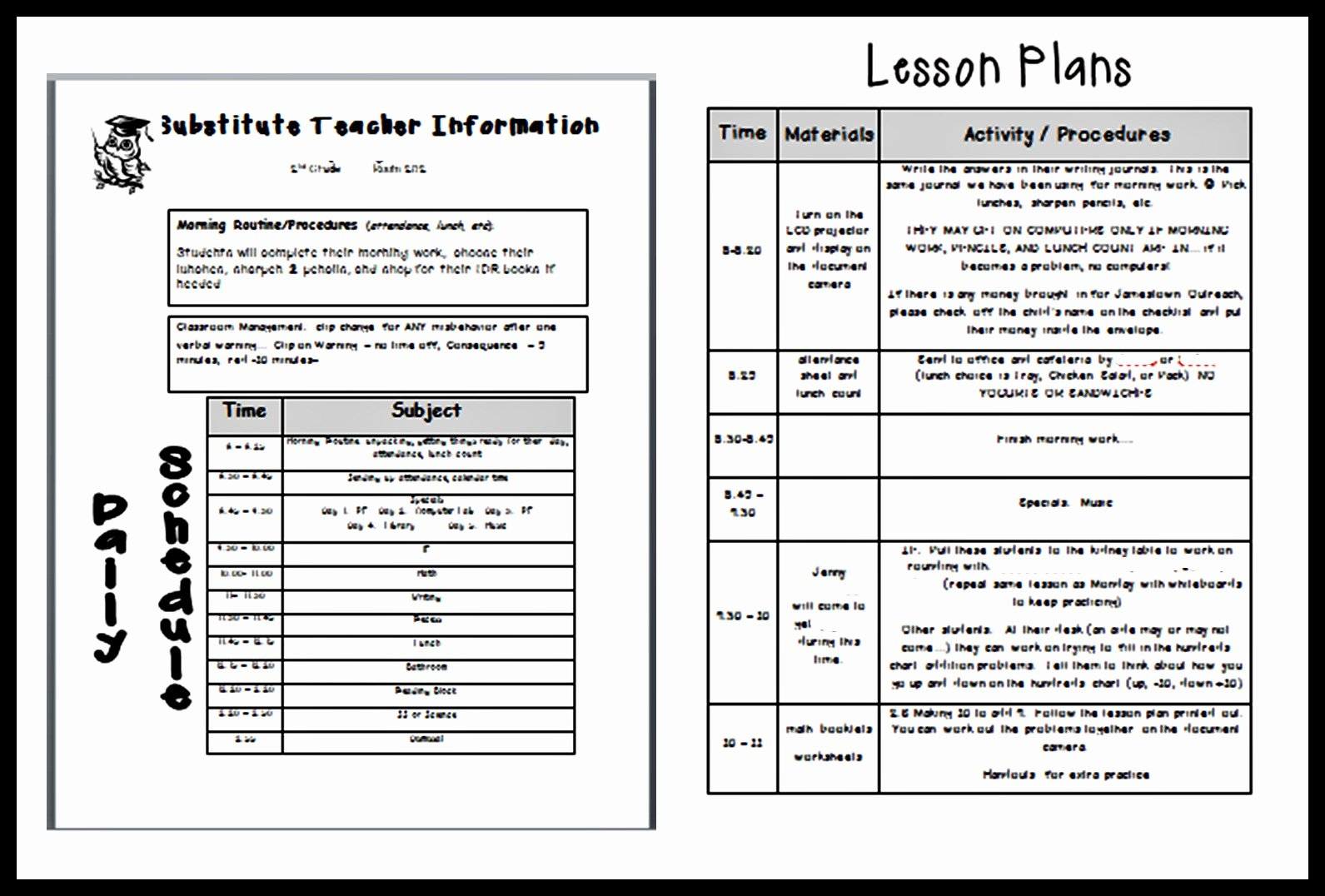 Sub Lesson Plan Template Fresh Following Optimism In 2nd Grade Sick Days and Sub Plans