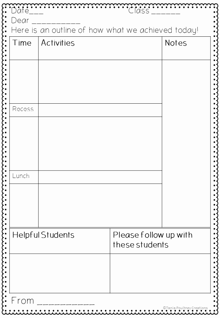 Sub Lesson Plan Template Inspirational A Note for the Teacher Sub Plan Template