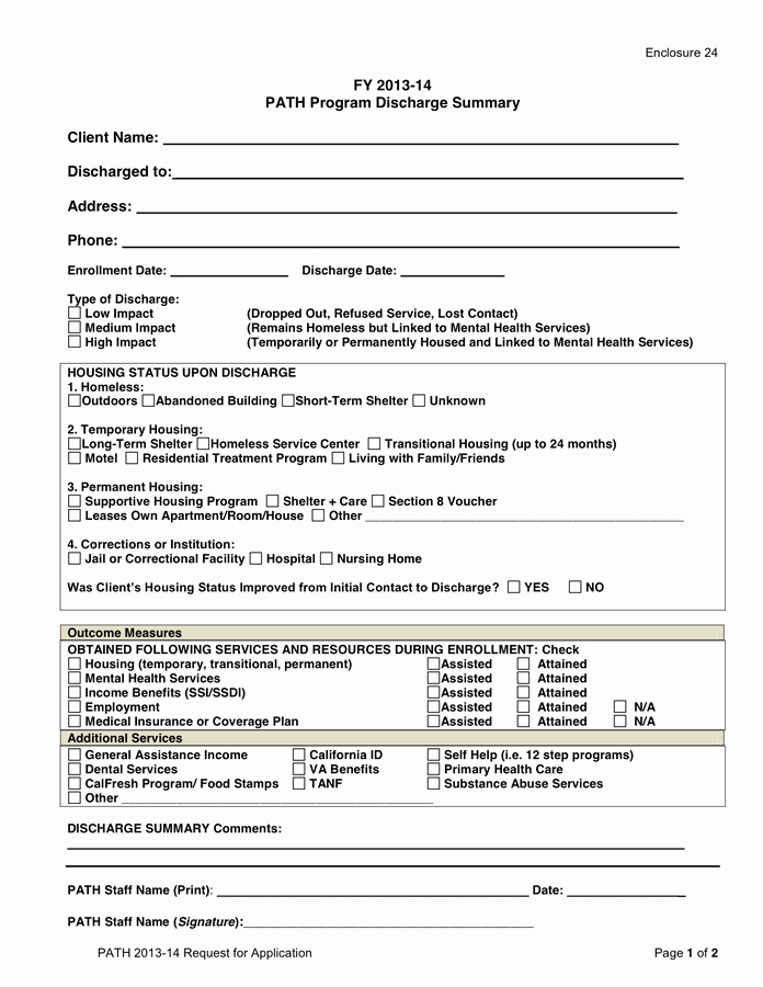 Substance Abuse Discharge Plan Template Unique Path Discharge Summary Template In Word and Pdf formats