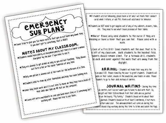Substitute Lesson Plan Template Lovely How to Create A Sub Plan Sub Binder and Emergency Sub