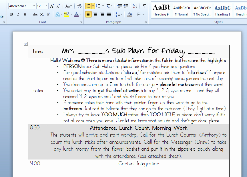 Substitute Lesson Plan Template Lovely Luckeyfrog S Lilypad Custom Lesson Plans to Easy Sub Plans