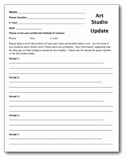 Substitute Lesson Plan Template New Creating A Substitute Teacher Folder for Your Art Room
