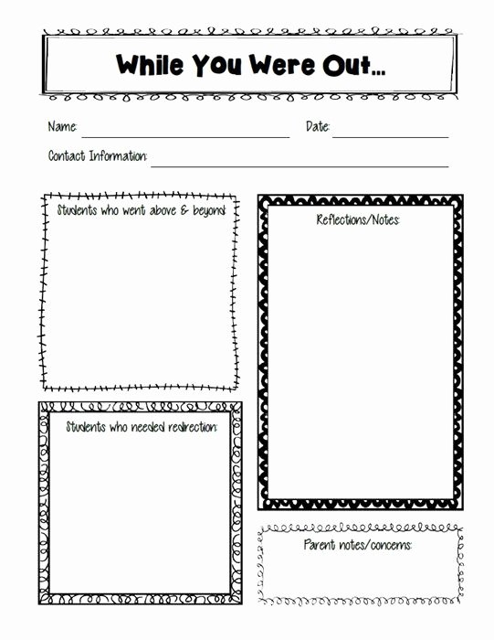 "Substitute Teacher Plan Template Awesome ""while You Were Out "" Substitute Teacher Freebie"