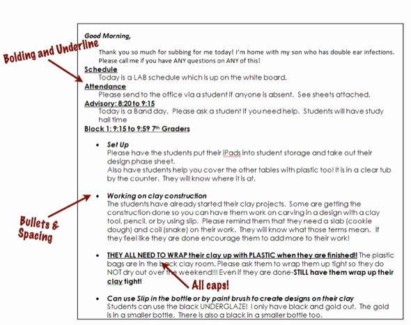 Substitute Teacher Plan Template Awesome Use formatting to Create Easy to Read Sub Plans the Art