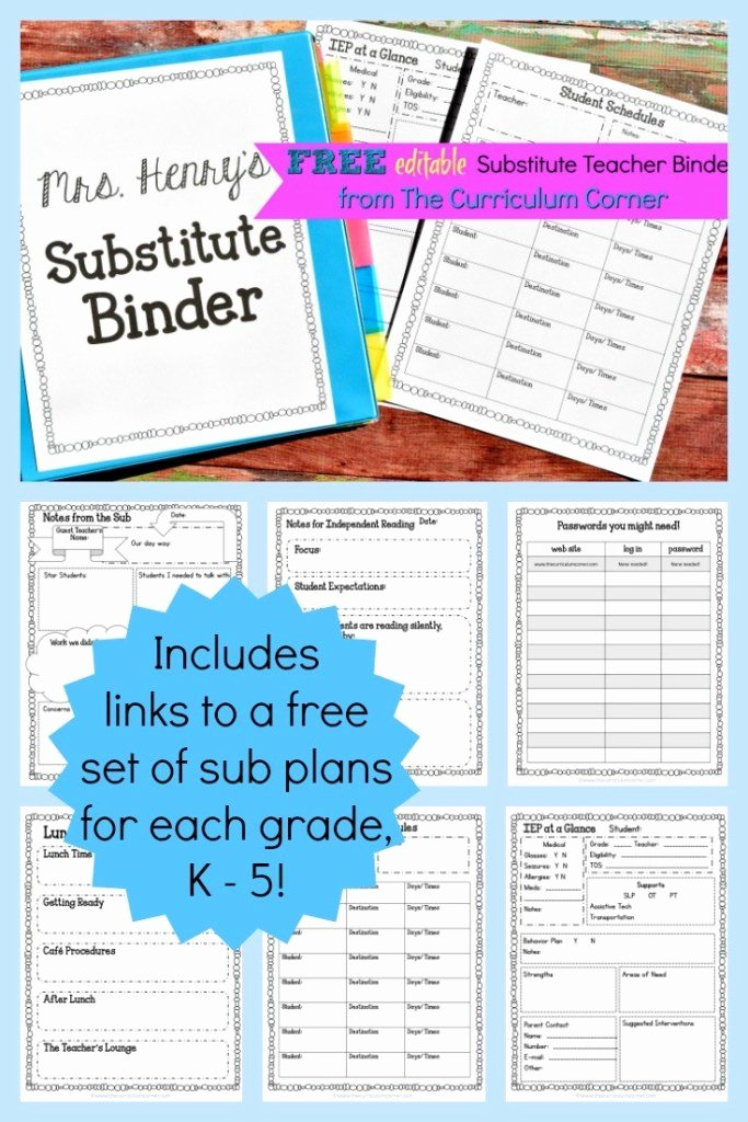 Substitute Teacher Plan Template Unique Editable Substitute Planning Binder the Curriculum