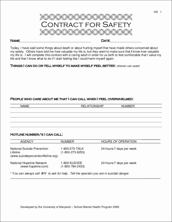 Suicide Safety Plan Template Fresh 15 Safety Contract Samples & Templates