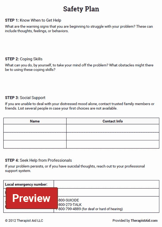 Suicide Safety Plan Template Lovely Safety Plan Worksheet