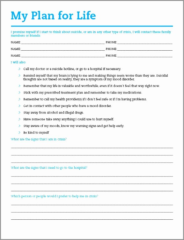 Suicide Safety Plan Template New Mental Health Safety Plan Template Tierianhenry