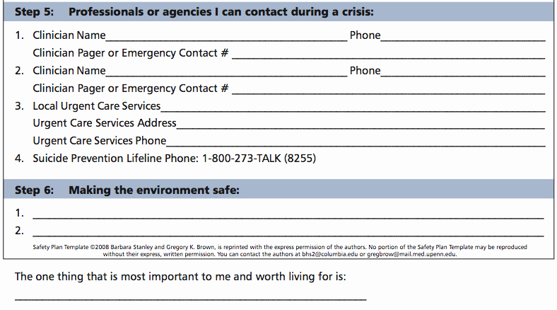 Suicide Safety Plan Template New Safety Plan Template