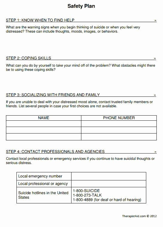 Suicide Safety Plan Template Unique Safety Plan Worksheet