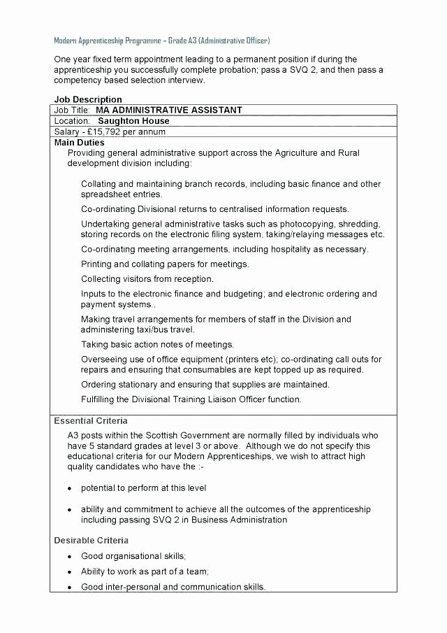 Summary Plan Description Template Awesome Business Administration Job Description