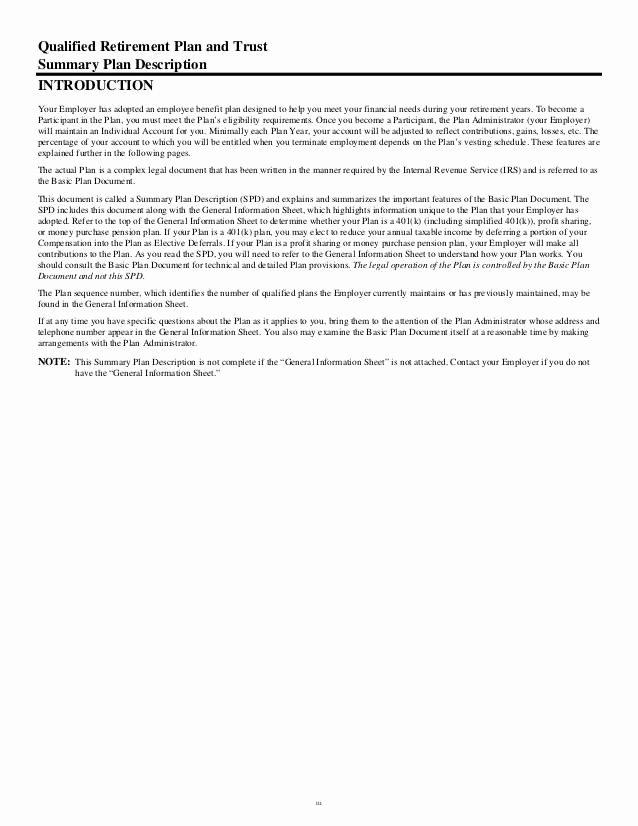 Summary Plan Description Template Fresh 401k Summary Plan Description Cover Letter