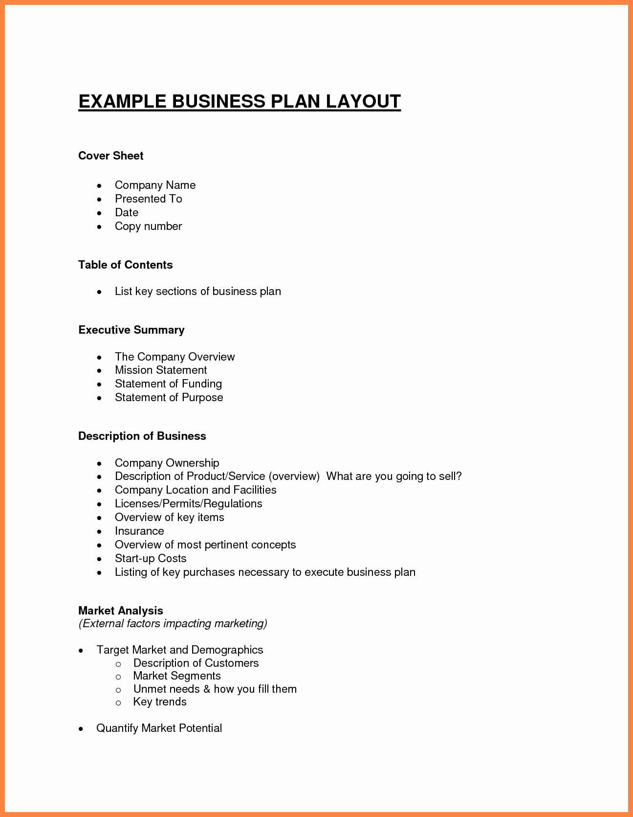 Summary Plan Description Template Inspirational Business Plan Layout