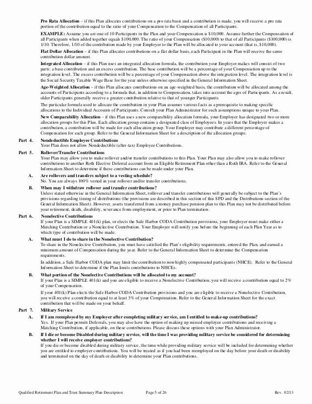 401k summary plan description cover letter