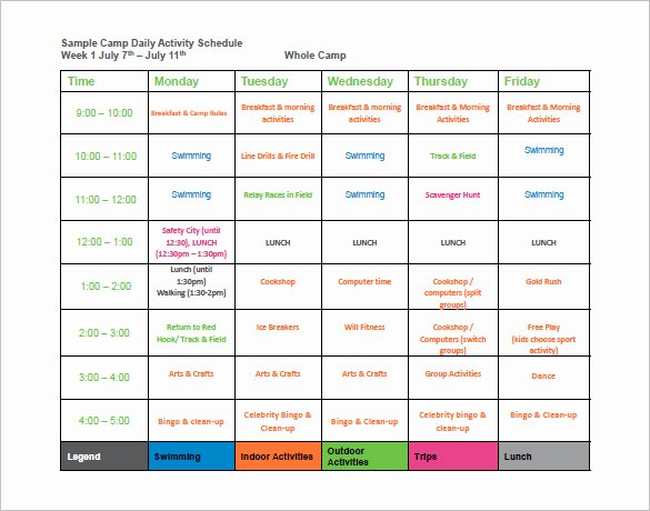 Summer Camp Lesson Plan Template Awesome 9 Camp Schedule Templates Doc Pdf