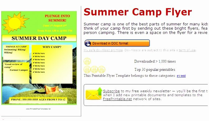 summer camp lesson plan template