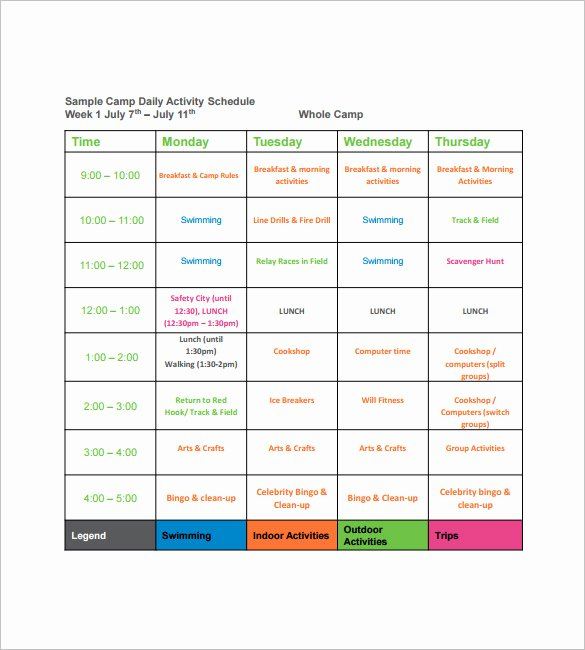 Summer Camp Lesson Plan Template Luxury 14 Camp Schedule Templates Pdf Doc