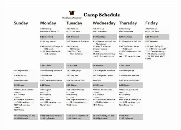Summer Camp Lesson Plan Template Unique 14 Camp Schedule Templates Pdf Doc