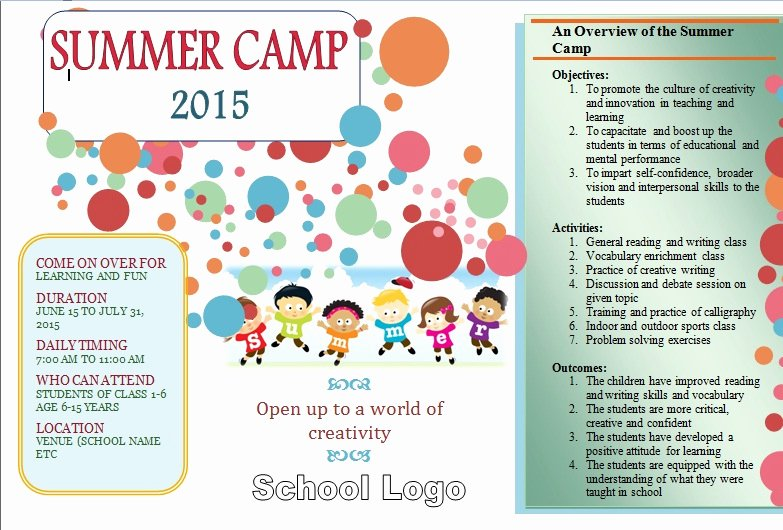 Summer Camp Lesson Plan Template Unique Summer Camp Open Idea and Design Template for School 2015