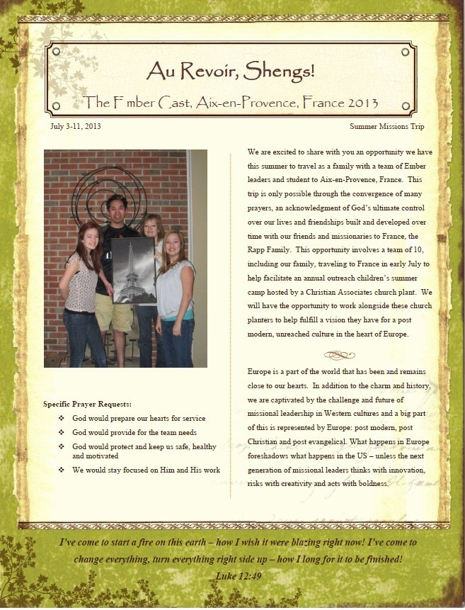 Support Letter Template for Missions Fresh tony Sheng Mobilizing Students for Missions 2013