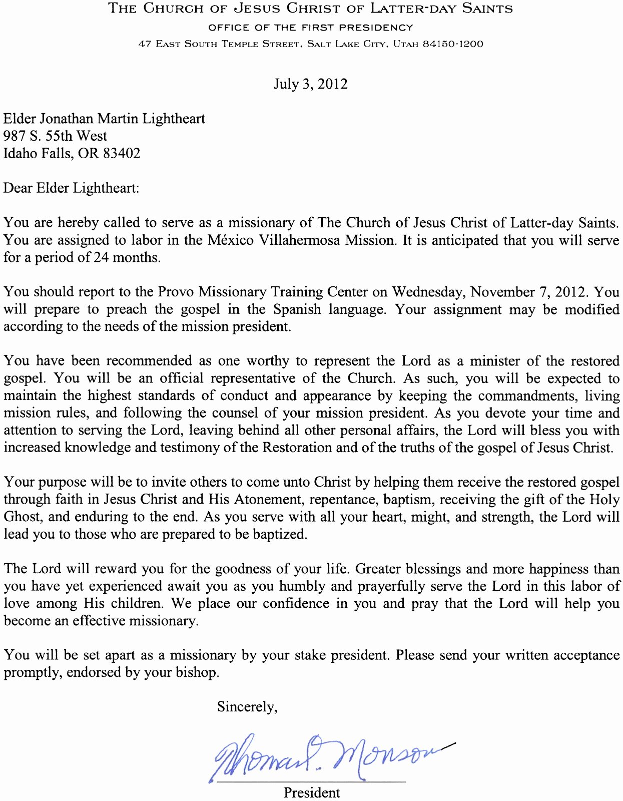 Support Letter Template for Missions Lovely Elder Jonathan Lightheart Mexico Villahermosa Mission