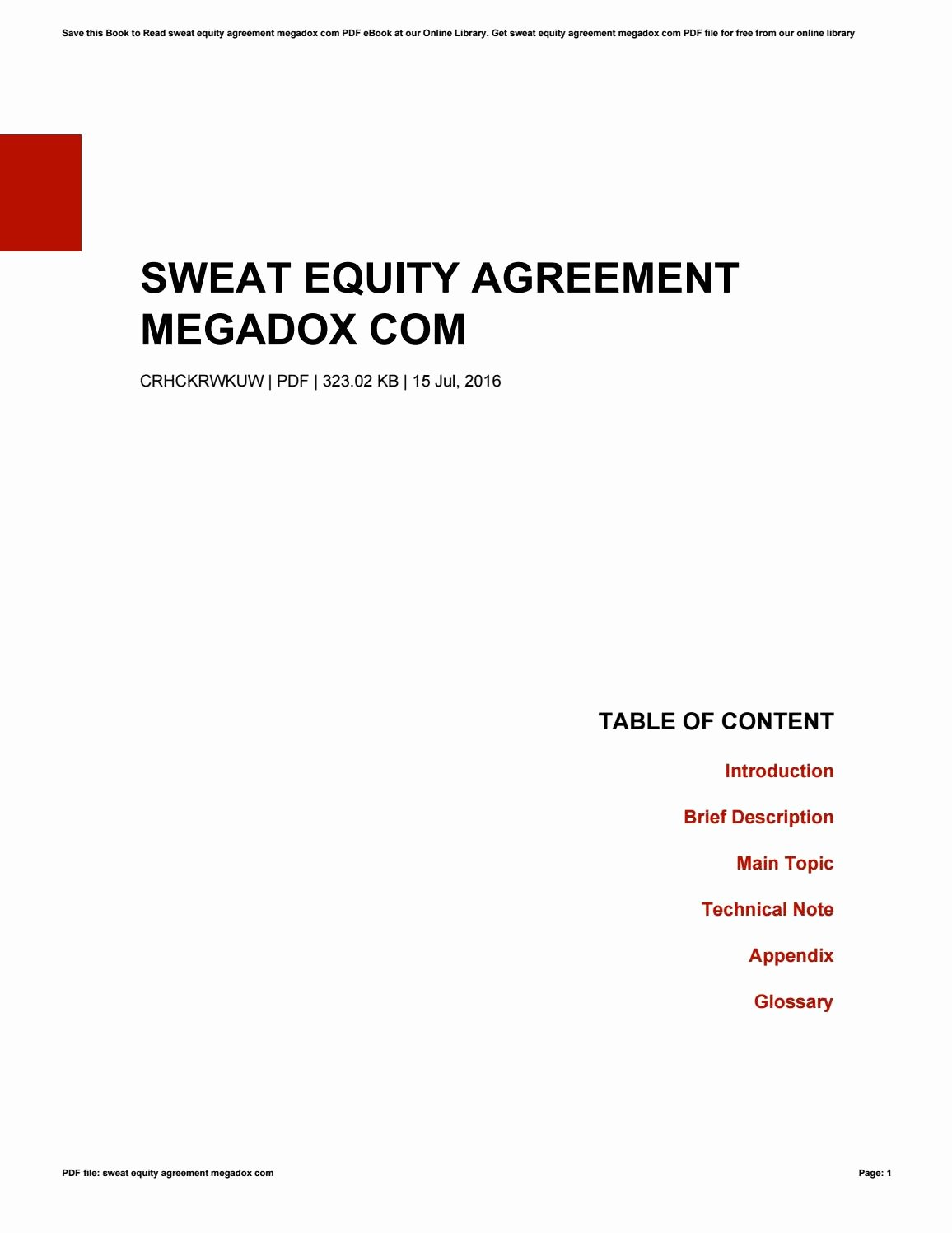 Sweat Equity Agreement Pdf Best Of Sweat Equity Agreement Megadox by theresaholford4092