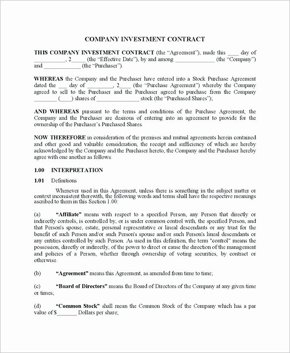 Sweat Equity Agreement Pdf Lovely Guaranteed Investment Contract Template