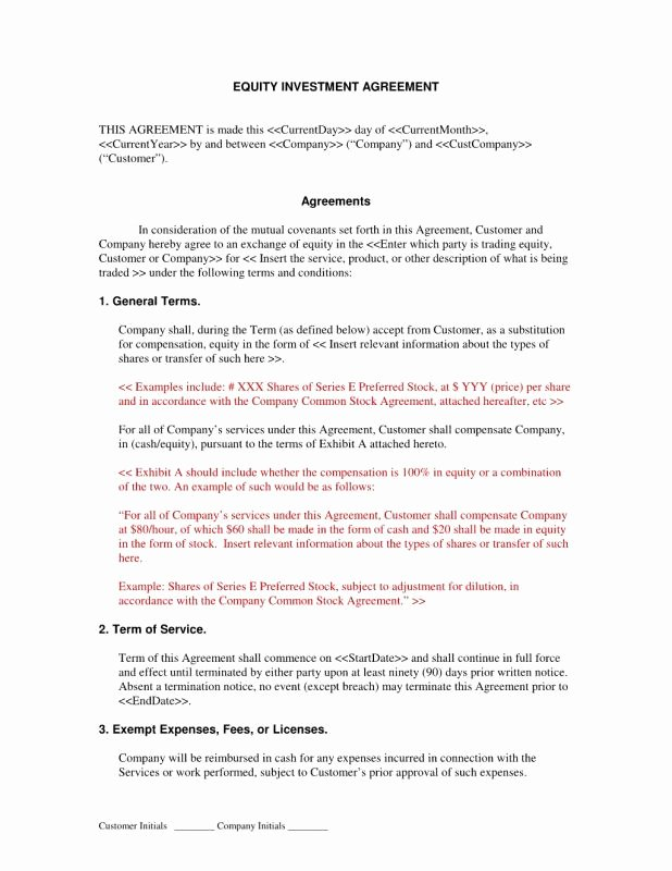 Sweat Equity Agreement Pdf New Investment Agreement Template