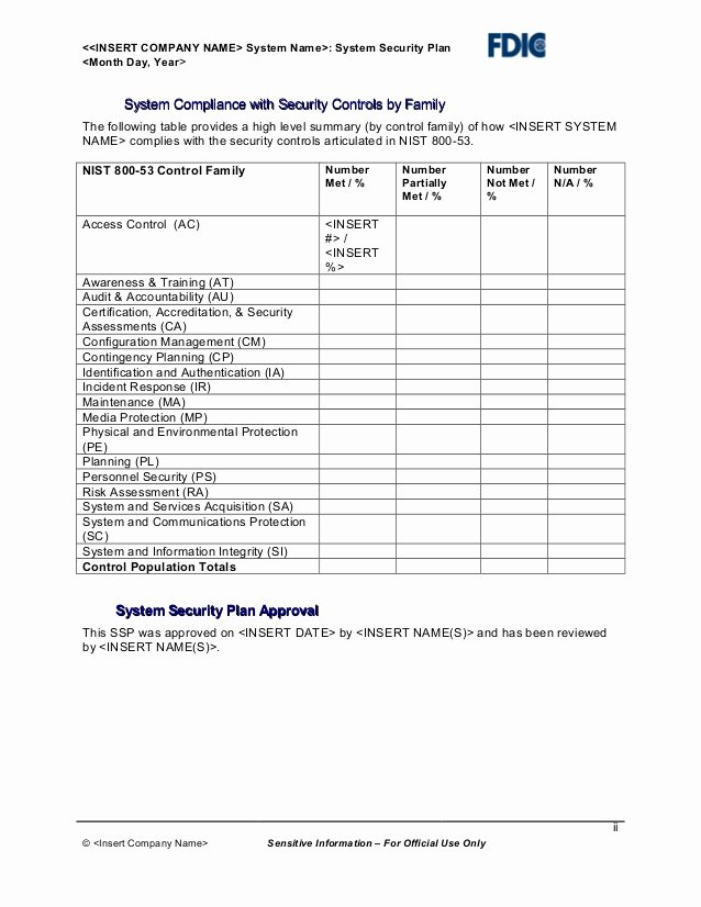 System Security Plan Template New It Security Plan Template