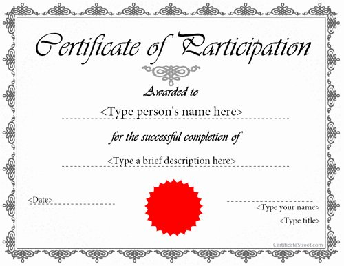 Talent Show Participation Certificate Best Of Certificate Participation Template