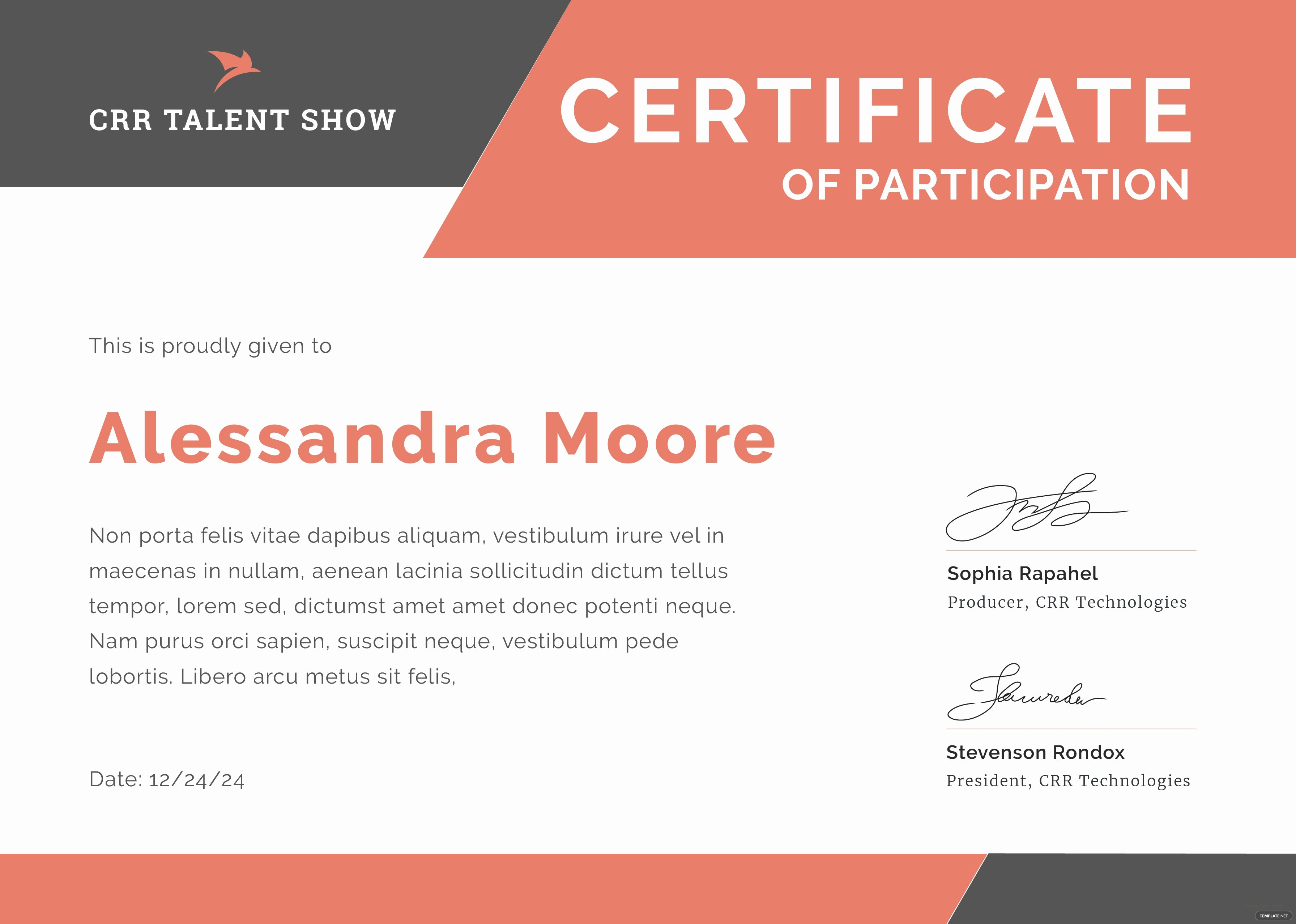 Talent Show Participation Certificate Best Of Talent Show Participation Certificate Template In Adobe