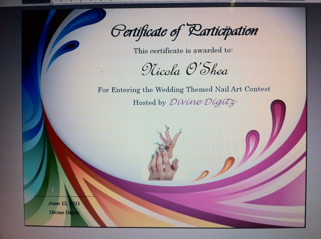 Talent Show Participation Certificate Lovely Divine Digitz some Classic Nail Art Designs & Certificate