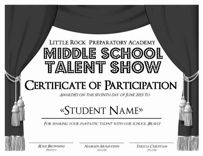 Talent Show Participation Certificate New Little Rock Preparatory Academy Work by Anna Alderson at