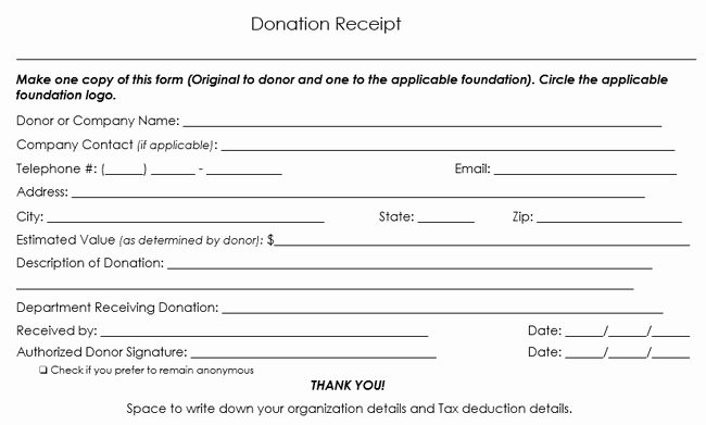 Tax Deductible Donation Receipt Template Beautiful Donation Receipt Template 12 Free Samples In Word and Excel