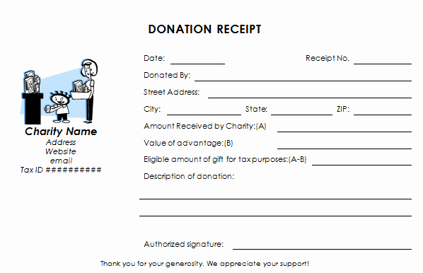 35 tax deductible donation receipt template