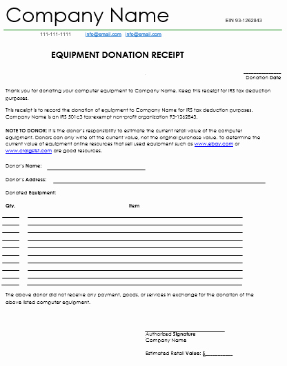 Tax Deductible Donation Receipt Template Unique Donation Receipt Template 12 Free Samples In Word and Excel