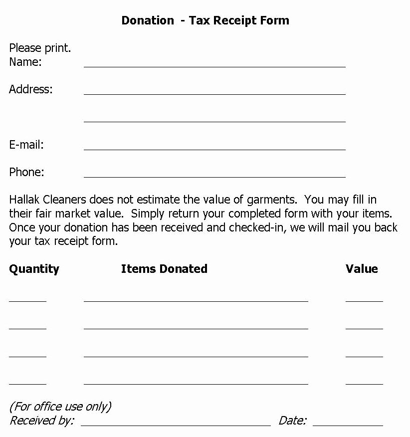 Tax Deductible Receipt Template Lovely Hallak Cleaners Donation Drive Held at Hallak Cleaners