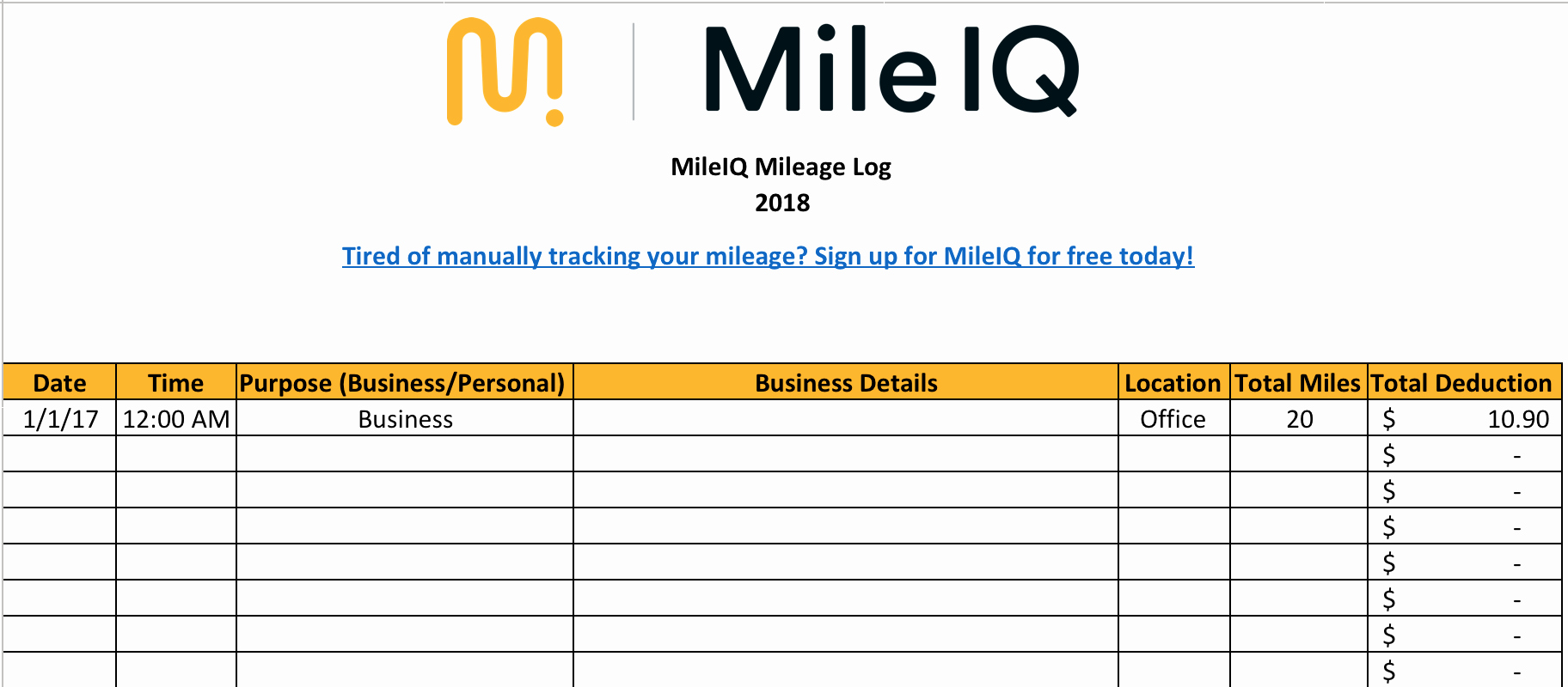 Tax Deductions for Courier Drivers New Free Mileage Log Template for Excel Track Your Miles