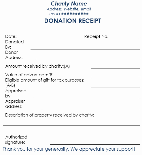 Tax Donation Receipt Template Beautiful Donation Receipt Template 12 Free Samples In Word and Excel